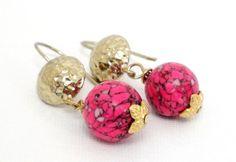 Pink Mosaic Gemstone Gold Earwire Earrings Pink by BijiJewelry, $23.00