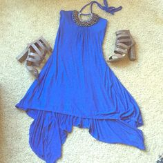 Adorable Blue Tribal High Low Halter Dress SZ S Mint Condition High Low dress embellished with beads around neckline for a tribal look - size small - super adorable  Chelsea & Violet Dresses High Low