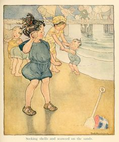 Vintage Children's Book Illustration.... Seeking Shells and Seaweed on the Sand . Illustration by Mary Ruth Hallock
