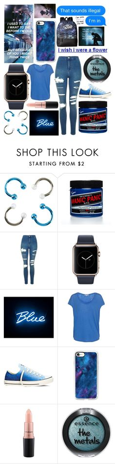 """""""Everything is Blue"""" by mcrsarah ❤ liked on Polyvore featuring Manic Panic NYC, Topshop, Seletti, Splendid, Converse, Casetify, MAC Cosmetics and Vans"""