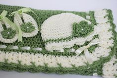 Crochet Baby Blanket Hat and Booties Olive Green & Ivory