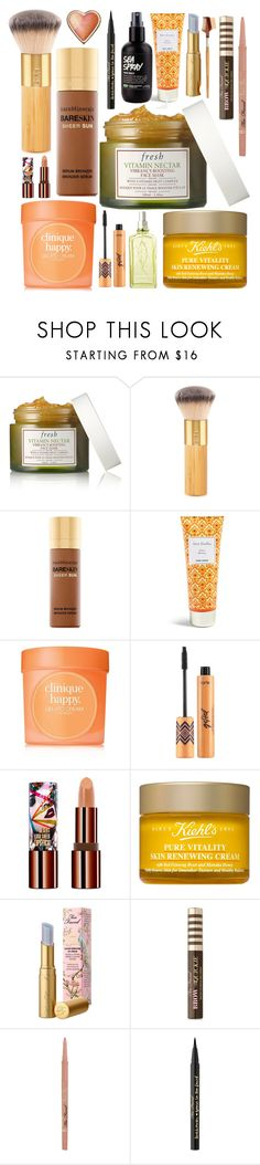"""""""Hufflepuff Beauty"""" by avenueg ❤ liked on Polyvore featuring beauty, Fresh, tarte, Bare Escentuals, Vera Bradley, Clinique, Teeez, L'Occitane, Kiehl's and EcoTools"""