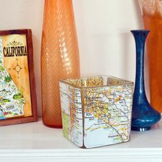 #DIY #Christmas #gift in 10 minutes. Cheap glass candle holder, trended up with #map paper. LOVE IT! #quickcrafts