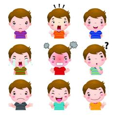 Illustration about Illustration of cute girl faces showing different emotions. Illustration of greeting, kindergarten, laugh - 60785380 Image Emotion, Emotion Faces, Emotions Cards, Feelings And Emotions, Feelings Chart, English Activities, Toddler Learning Activities, Boy Face, Cute Girl Face