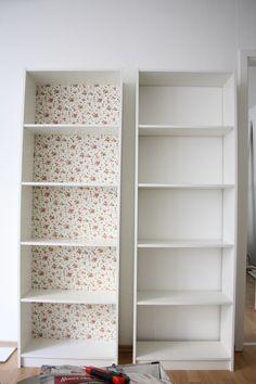 Pimp my bookshelf: https://seafoaminmyveins.wordpress.com/2014/10/29/pimp-my-gersby/ #bookshelf #diy #hack #ikea