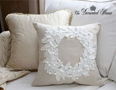 Pottery Barn Knock Off Pillow - The Decorated House . How to make this pretty Christmas Wreath Pillow