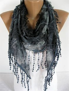 Elegant  Dark Bluer Scarf - Cowl with Lace Edge -gift Ideas For Her Women's Scarves--gift for her -Fashion accessories