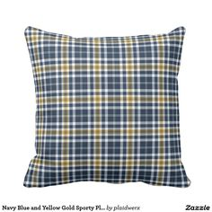 Navy Blue and Yellow Gold Sporty Plaid