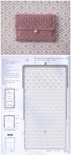 new ideas for crochet bag pattern diagram patrones Crochet Stitches Free, Crochet Purse Patterns, Crochet Pouch, Crochet Shell Stitch, Crochet Diagram, Diy Crochet, Crochet Crafts, Crochet Bags, Lace Patterns