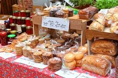 Baked goods and preserves at a farmers market