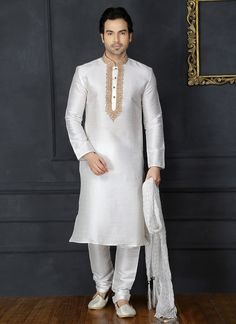 Buy White Embroidered Kurta Pyjama online, SKU Code: KPMARC5775. This White color kurta pyjama for Men comes with Benarasi Art Silk. Shop Now!
