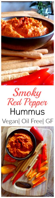 A super tasty vegan dip. Smoky Red Pepper Hummus is easy, spreadable, gluten fre. A super tasty vegan dip. Smoky Red Pepper Hummus is easy, spreadable, gluten free and can be made o Vegan Appetizers, Vegan Snacks, Vegan Foods, Healthy Snacks, Healthy Eating, Veggie Recipes, Whole Food Recipes, Vegetarian Recipes, Cooking Recipes