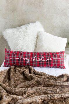 Merry Christmas plaid pillow! #homedecor #christmas #christmasdecor #holiday #home #design #ad