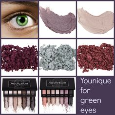 Amazing Younique eye products to compliment green eyes; Splurge Cream Shadows, Moodstruck Mineral Eye Pigments, and Moodstruck Addiction Palettes