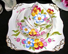 Tuscan Tea Cup and Saucer and Cake Plate Painted Floral Pansy Pattern Teacup Vintage China, Vintage Tea, Tea Cup Saucer, Tea Cups, Tea Service, Cake Plates, Pansies, Tea Time, Coffee Time