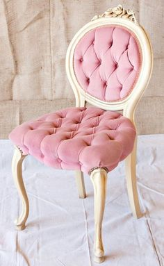 my Mom had a chair just like this in our bathroom when I was growing up  I never realized it was shabby chic back then!