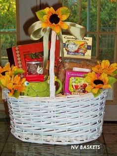 TEA for TWO Gift Basket. Includes a Frog theme mug. Tea bag holder, Tea Biscuits, Candles, and adorned with sunflower silk flowers. Great for any occasion Birthday Gift Baskets, Birthday Gifts, Frog Theme, Tea Biscuits, Silk Flowers, Candles, Pastries, Texas, Gift Ideas