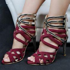 Shoespie Color Block Caged Shoes