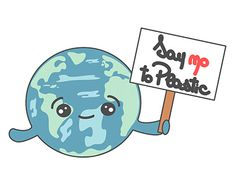 say no to plastic cute cartoon planet Earth concept illustration Plastic Stickers, Plastic Art, Planet Earth, Zero Waste, Cute Cartoon, New Work, Marathon, Planets, Recycling