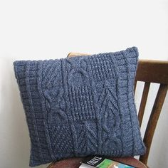 Decorative Cable Pillow Denim Wool Knitted Patchwork by margity, $63.00