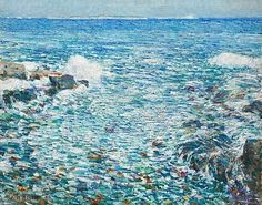 Surf, Isles of Shoals 🔹by Frederick Childe Hassam ~~~ {oil on canvas Impressionism} [🌎Metropolitan Museum of Art] Claude Monet, American Impressionism, Expositions, Oil Painting Reproductions, Metropolitan Museum, American Artists, Art History, Landscape Paintings, Beach Paintings