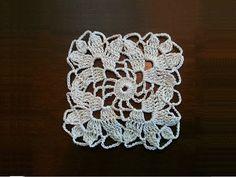 Crochet Square Motif - Leaves Pattern