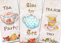 Instant Digital Download Tea Tags Set of 6 printable by sssstudio, ETSY ~great for a tea party - mothers day, great shop! ~