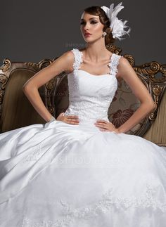 Wedding Dresses - $216.99 - Ball-Gown Sweetheart Court Train Organza Satin Wedding Dress With Ruffle Lace Beadwork (002011422) http://jjshouse.com/Ball-Gown-Sweetheart-Court-Train-Organza-Satin-Wedding-Dress-With-Ruffle-Lace-Beadwork-002011422-g11422