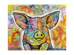 Found it at Wayfair - 'The Pig' by Dean Russo Graphic Art on Wrapped Canvas Canvas Artwork, Canvas Art Prints, Painting Prints, Oil Paintings, Tout Rose, Dean Russo, Pig Art, Acrylic Wall Art, Metal Wall Art