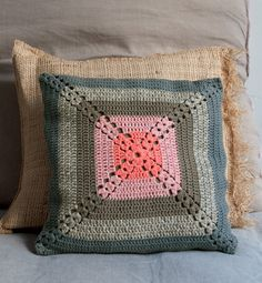 love the colour combination - crochet vintage cushion by phildar