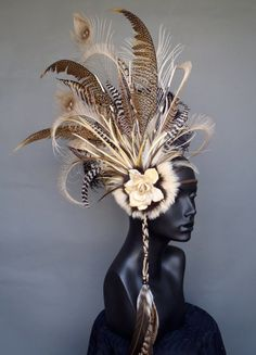 Brown and Ivory Feather Headdress Headpiece by MissGDesignsShop Dance Costumes, Halloween Costumes, Tahitian Costumes, Feather Headpiece, Flower Headpiece, Head Accessories, Tribal Fusion, Fascinators, Headpieces