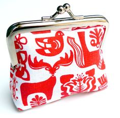 Scandinavian coin purse red and white animals Folk print. $26.00, via Etsy.