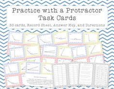 This is a set of 30 task cards to help kids practice measuring angles between 0 and 180 degrees with a protractor.  A student recording sheet, teacher answer key, and directions are also included. All About Me Activities, Fun Math Activities, Math Games For Kids, Math Resources, Math Classroom, Kindergarten Math, Teaching Math, Teaching Ideas, Fifth Grade Math