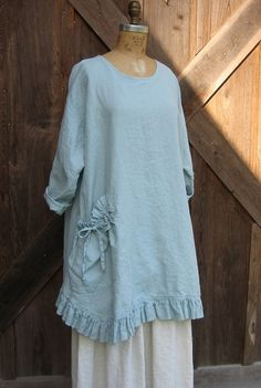 linen tunic dress money bag pocket in light dusty blue. $145.00, via Etsy.