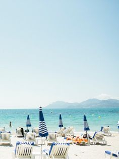 Beach Cabanas & Umbrellas | Classic nautical blue & white