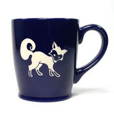 Fox Mug  Navy Blue  microwave/dishwasher safe  by BreadandBadger (Home & Living, Kitchen & Dining, Drink & Barware, Drinkware, Mugs, gifts for men, boyfriend gifts, fox, fox mugs, fox cup, woodland, forest animals, gifts for teachers, gifts for teens, gifts for mom, navy blue, forest, portland)