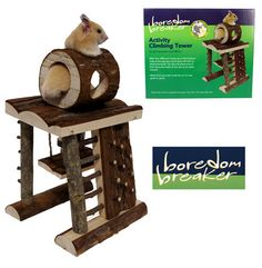 For all Hamster and Mice. With four different routes up to the lookout hide at the top your small pets will love to climb this tower. So why not place one of their favouite treats at the top as an extra reward!  http://www.petproducts.me/small-animals/activity/boredom-breaker-small-animal-activity-climbing-tower.html