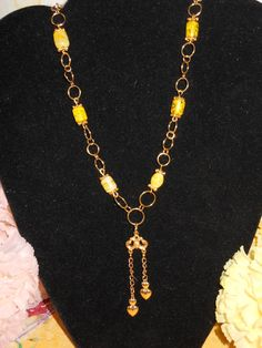 Touch of Yellow Necklace by OurBeadedCharms on Etsy, $14.50