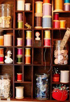 color. thread. collection. shelf.