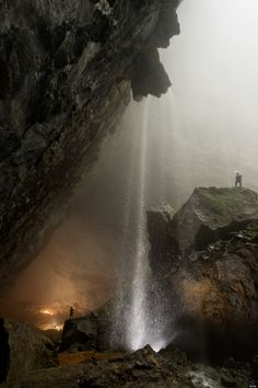 "The giant Hang Son Doong, or ""mountain river cave,"" hidden in rugged Phong Nha-Ke Bang National Park, Vietnam (near the border with Laos). Only discovered Want to see! Oh The Places You'll Go, Places To Visit, Beautiful World, Beautiful Places, Vietnam Voyage, Les Cascades, Parc National, Belle Photo, Wonders Of The World"
