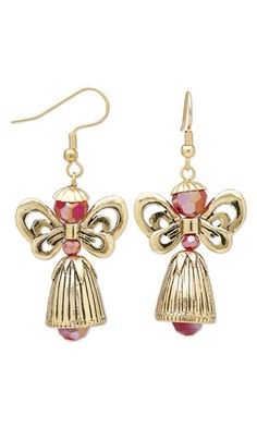 Earrings with Antiqued Gold-Plated Pewter Cones and Beads and SWAROVSKI ELEMENTS