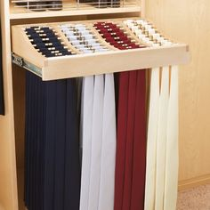 Rev-A-Shelf 24 in. Classic Tie Rack with Slides and Hardware - About Rev-A-ShelfRev-A-Shelf, holds 120 ties Tie Storage, Closet Storage, Storage Ideas, Master Closet, Closet Bedroom, Attic Closet, Contemporary Closet Organizers, Scarf Rack, Pants Rack