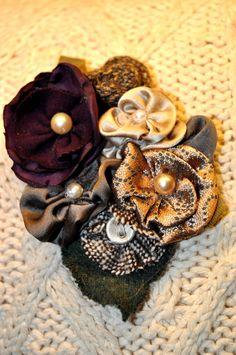 gold purple burgundy cream flower brooch coat wrap hat pin corsage 10 cm m l new