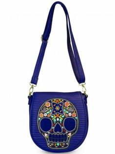 Multi Skull With Flowers Quilted Crossbody Bag by Loungefly (Blue) love it!
