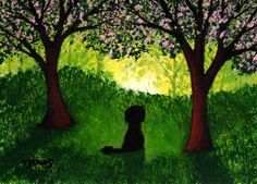 Portuguese Water Dog Folk art print by Todd Young APPLE ORCHARD