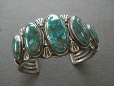 5 Stone Turquoise Cuff Bracelet by Calvin Martinez, Navajo.