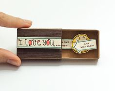 Cute Love Card/ 3D Pop Up Card  This listing is for one matchbox. This is a great alternative to a Valentine/Anniversary card. Surprise your loved ones with a cute private message hidden in these beautifully decorated matchboxes!  Each item is hand made from a real matchbox(*). The designs are hand drawn, hand colored and then printed on paper and hand assembled individually to give each matchbox that special personalized touch. Weve found that these matchboxes are the perfect way to…