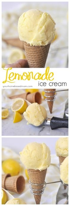 Lemonade Ice Cream ~ two favorite summer treats in one! | YourHomebasedMom.com