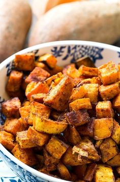 SpicySweet Roasted Sweet Potatoes are coated in a spice mixture that is both sweet and spicy and then roasted in a hot oven until brown and crispy. Sweet Potato Recipes Healthy, Spicy Recipes, Vegetarian Recipes, Cooking Recipes, Healthy Recipes, Spicy Sweet Potato Recipe, Healthy Potatoes, Healthy Options, Potatoes