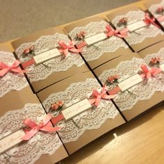 Rustic coral lace wedding invitations. My fave ones so far